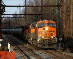 BNSF 6786 leading K140 into the last bit of sun here.